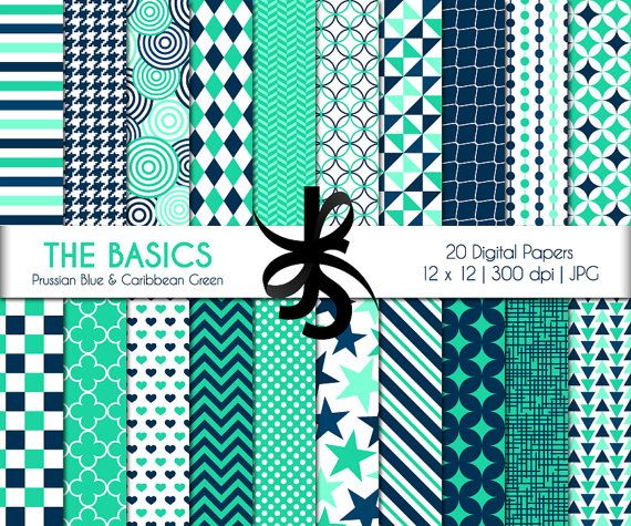 Digital Scrapbook Papers-The Basics-Prussian Blue-Caribbean Green-Blue and Green-Geometric-Patterns-Printable-Instant Download Clip Art