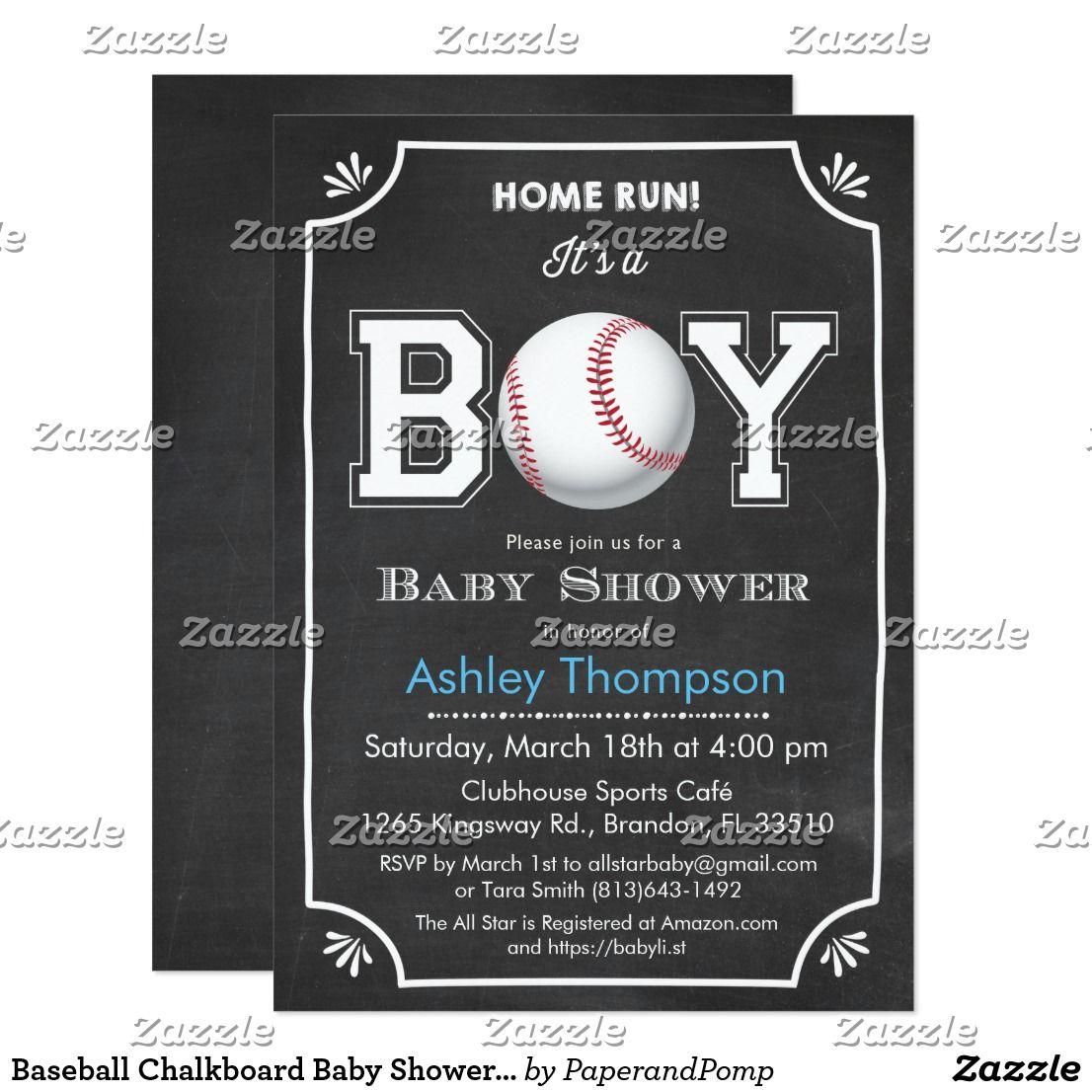 Baseball Chalkboard Baby Shower Invitation | Chalkboard baby and ...