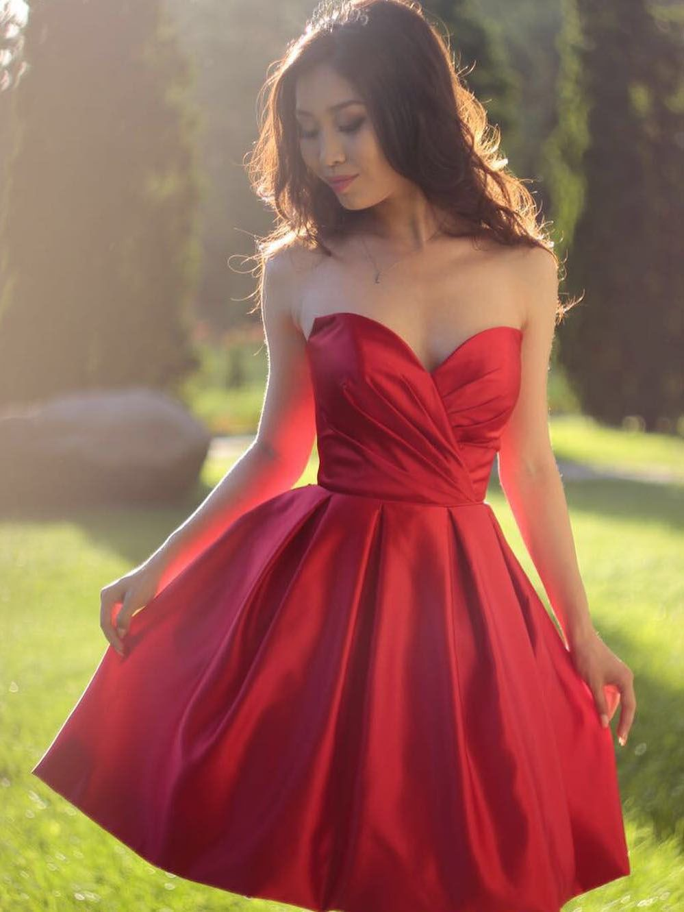Princess sweetheart short red homecoming dress long dress