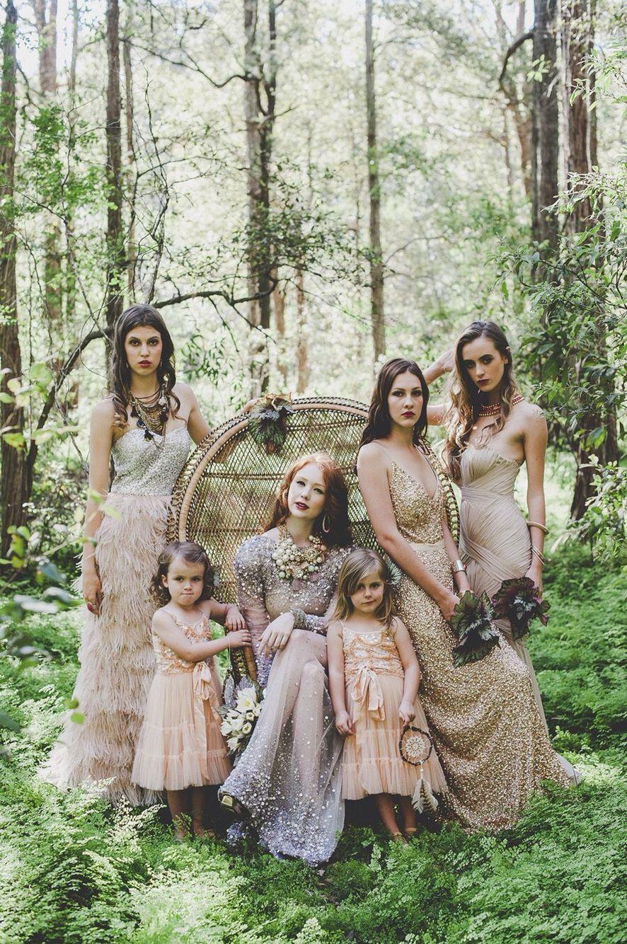 50 Chic Bohemian Bridesmaid Dresses Ideas | Forest wedding, Bridal ...