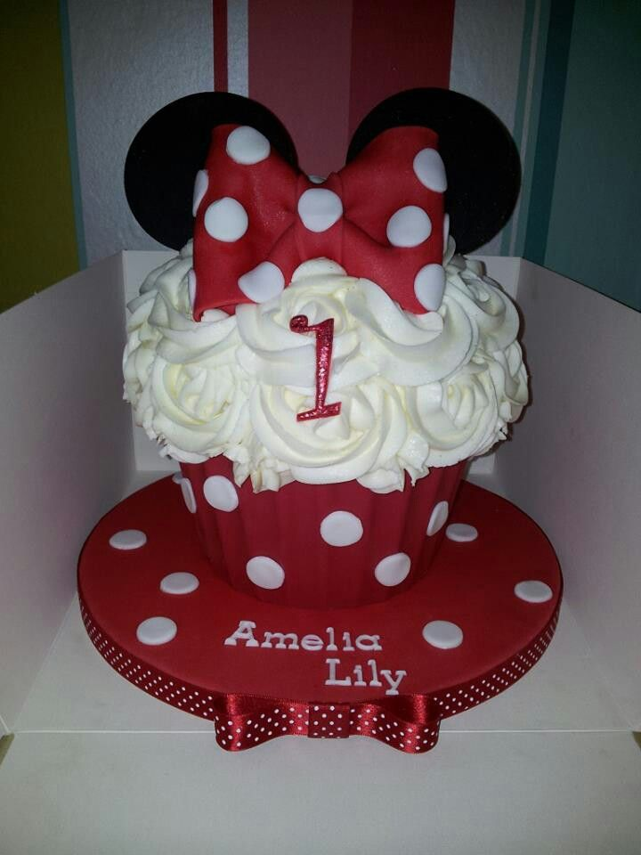 Pleasing Mini Mouse Giant Cupcakes With Images Giant Cupcake Cakes Big Funny Birthday Cards Online Inifofree Goldxyz