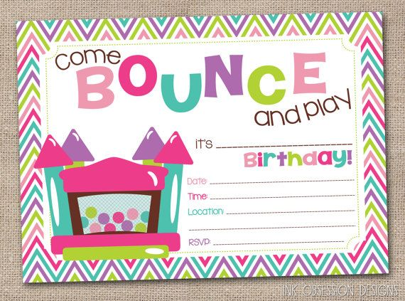 Bounce House Instant Download Birthday Party Invitation Girls – Bounce House Birthday Invitations