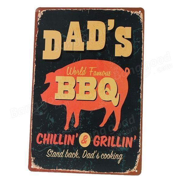 Chilling Grilling BBQ Vintage Sign Retro Metal Plaque Bar Pub Home