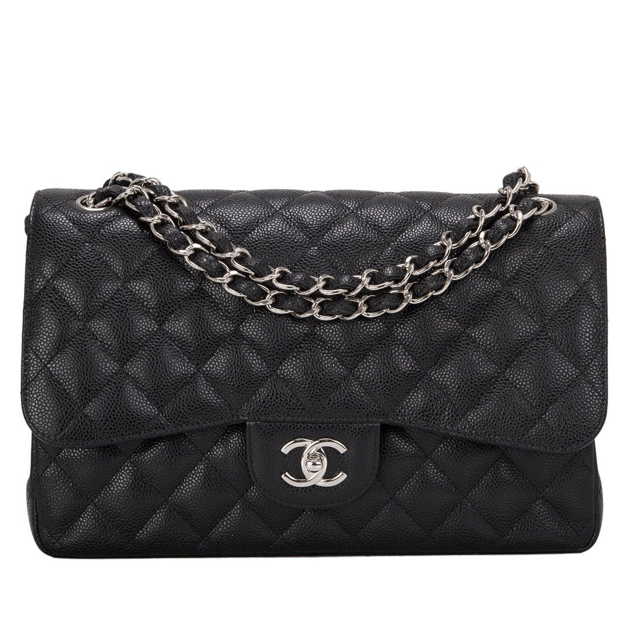 d2b64c3bb404 Chanel Black Quilted Caviar Jumbo Classic Double Flap Bag