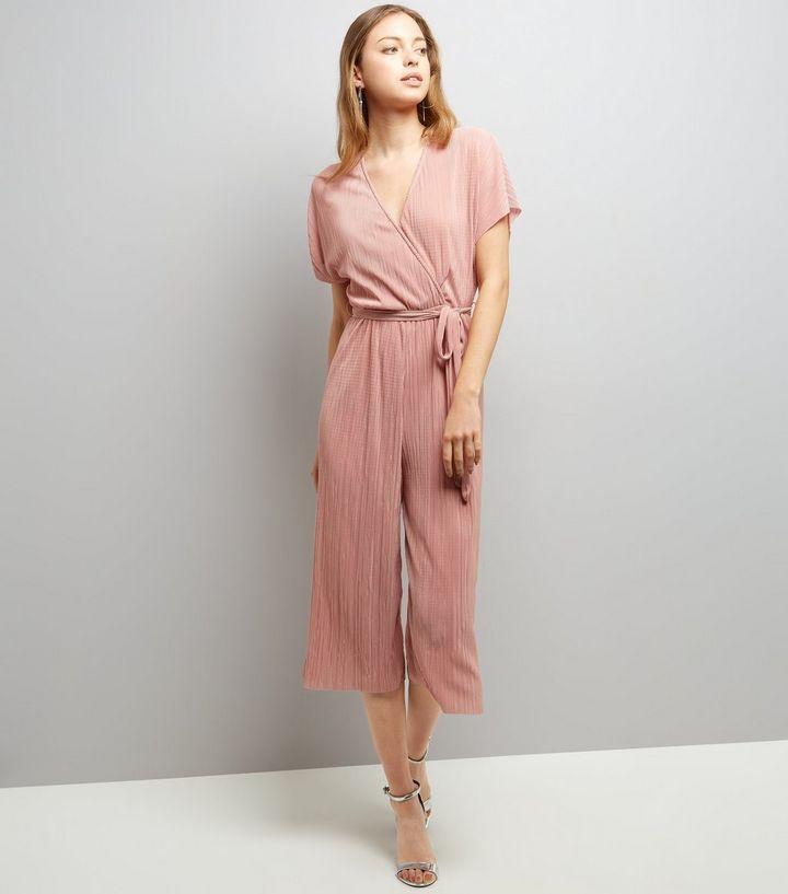 Combinaison jupe-culotte plissée à effet cache-cœur rose clair