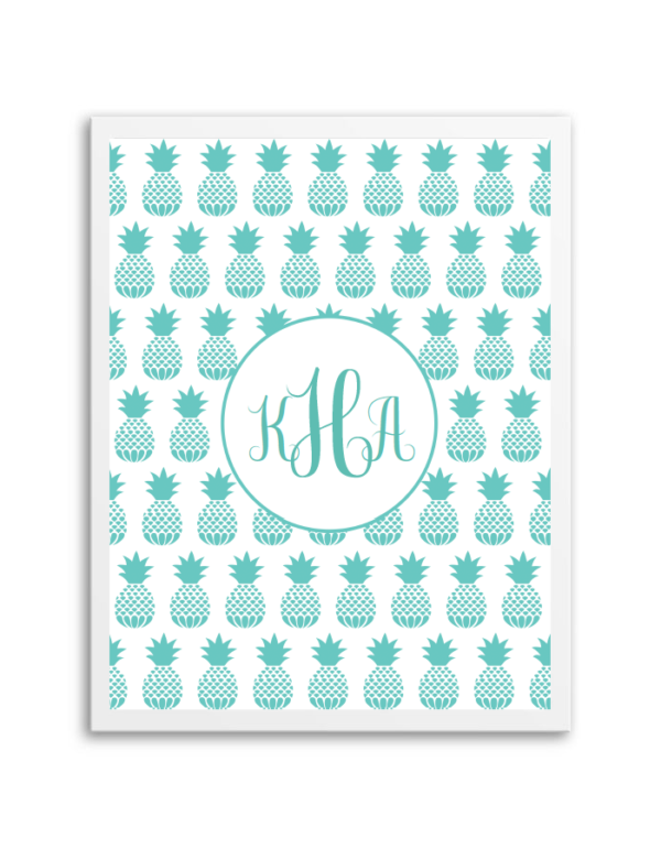 pineapple monogram aqua free binder covers templates pinterest