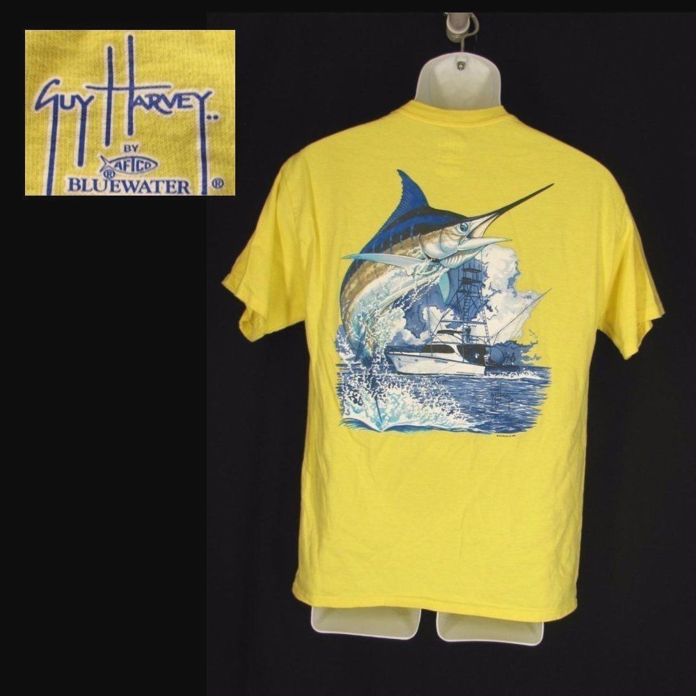 ab68b238 Guy Harvey Shirt Boys Girls XL Youth Yellow Cotton Marlin Fishing Boating  #GuyHarvey #Everyday