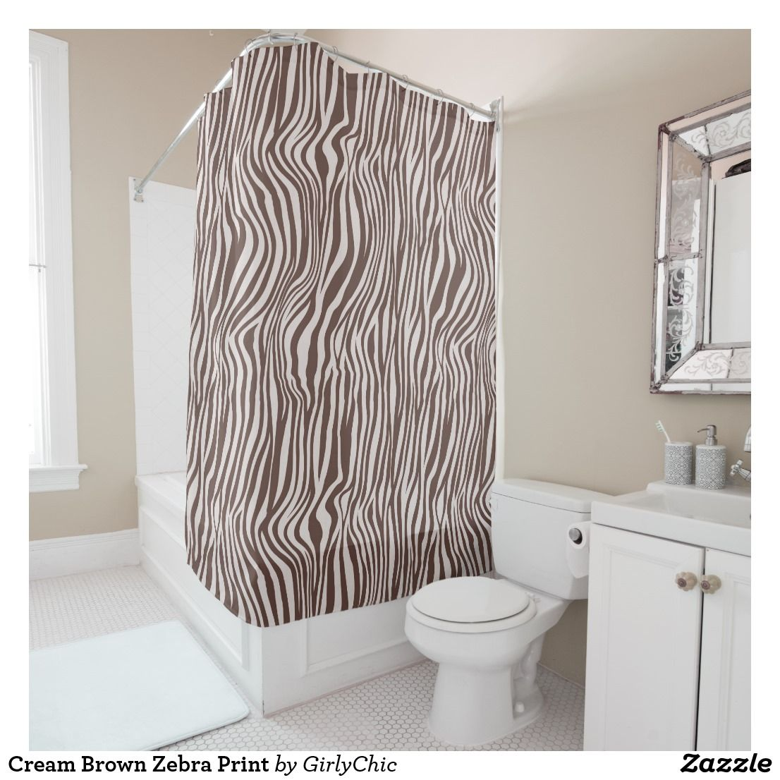 Cream Brown Zebra Print Shower Curtain Zazzle Com Shower