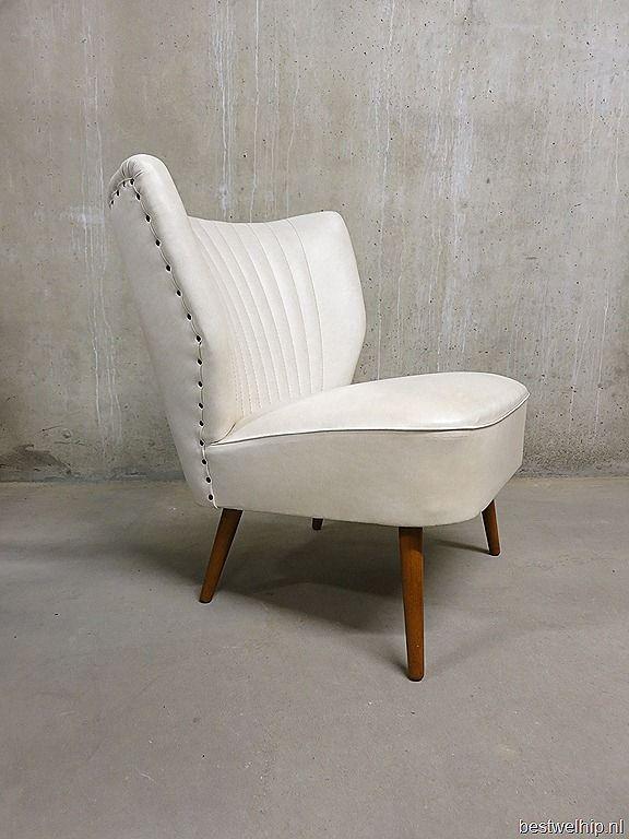 Witte skai leren cocktail stoel club fauteuil retro for Witte leren stoelen