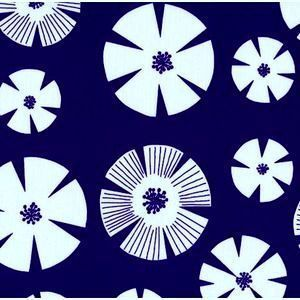 Stof House Designer - Pure - Stamped Flower in Navy