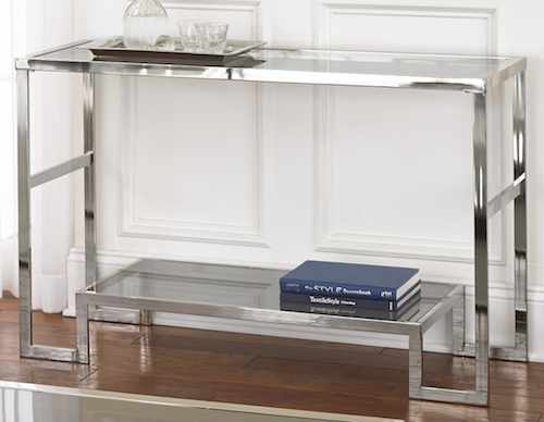 Worlds Away Lyle Nickel Plated Console Overstock 240 Sofa Table Glass Console Table Top Sofas