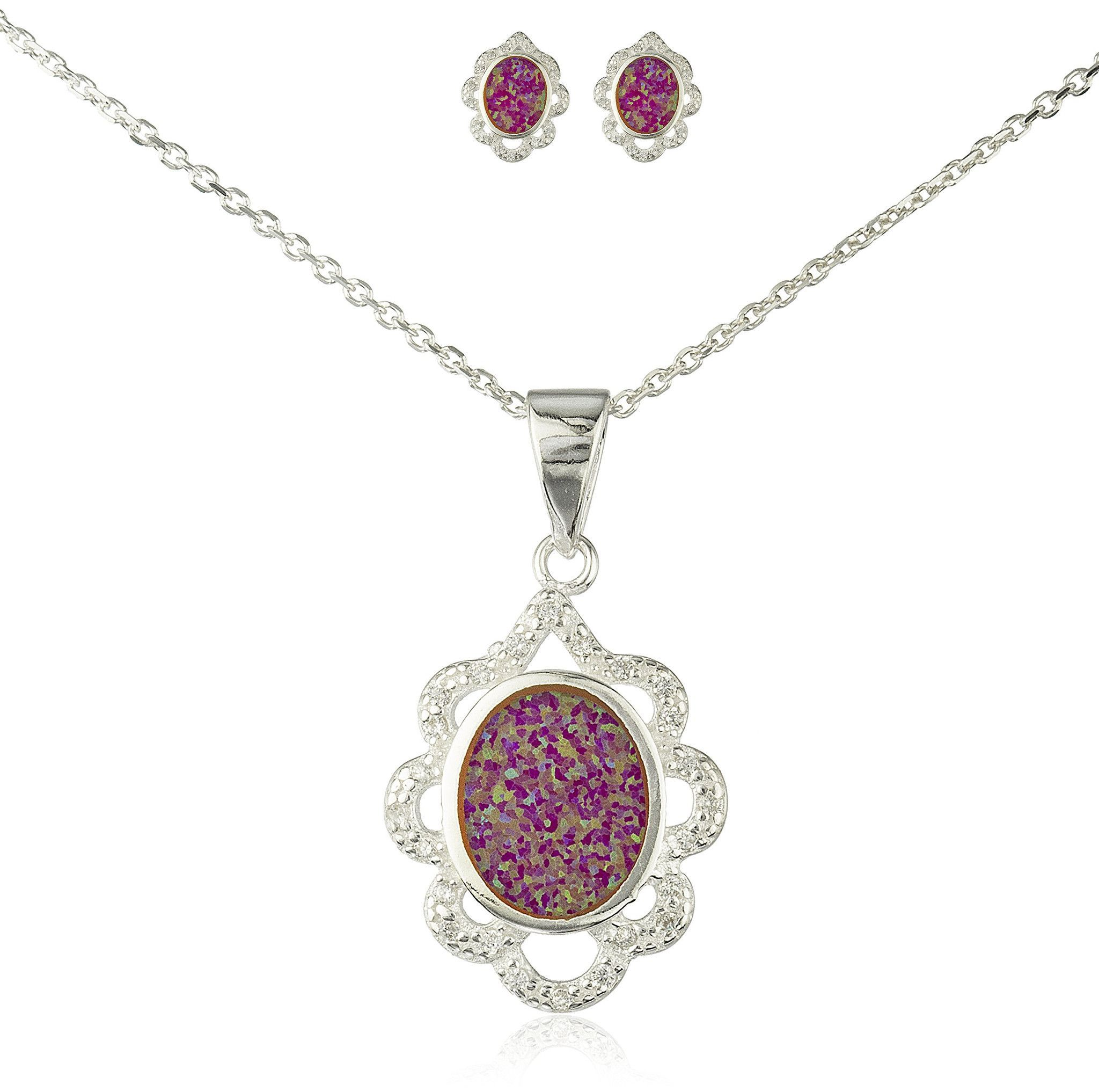 Real 925 Sterling Silver Fancy Design Necklace with Cz Stones and Matching Stud Earrings Jewelry Set (Pink)
