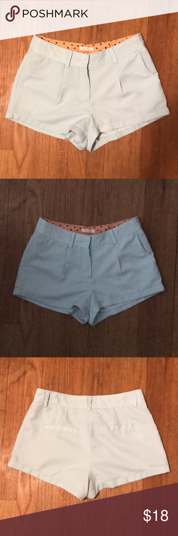 Under Skies light blue shorts size S lined These adorable light blue shorts have only been worn a handful of times. The color is a light sky blue which doesn't show so well in the pictures.  Features: belt loops, zip and secure, functional front and back pockets!! Under Skies Shorts #lightblueshorts