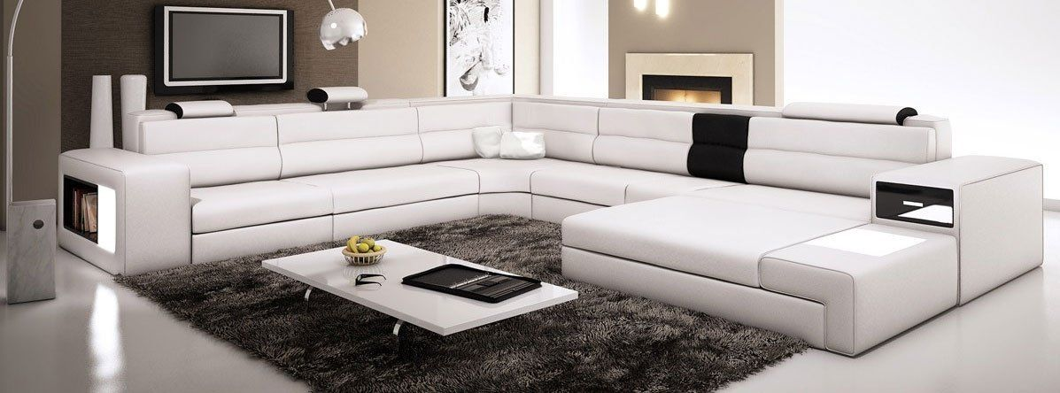 3000 Amazon Com White Contemporary Italian Leather Sectional