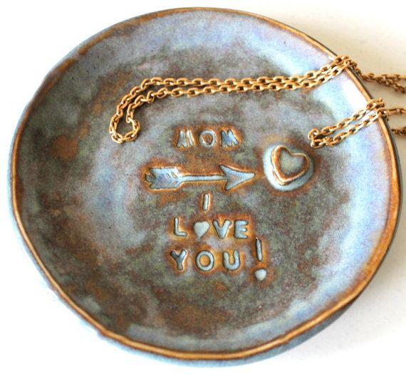Mom I Love You Customized Ceramic Dish by MalenkaDesign on Etsy