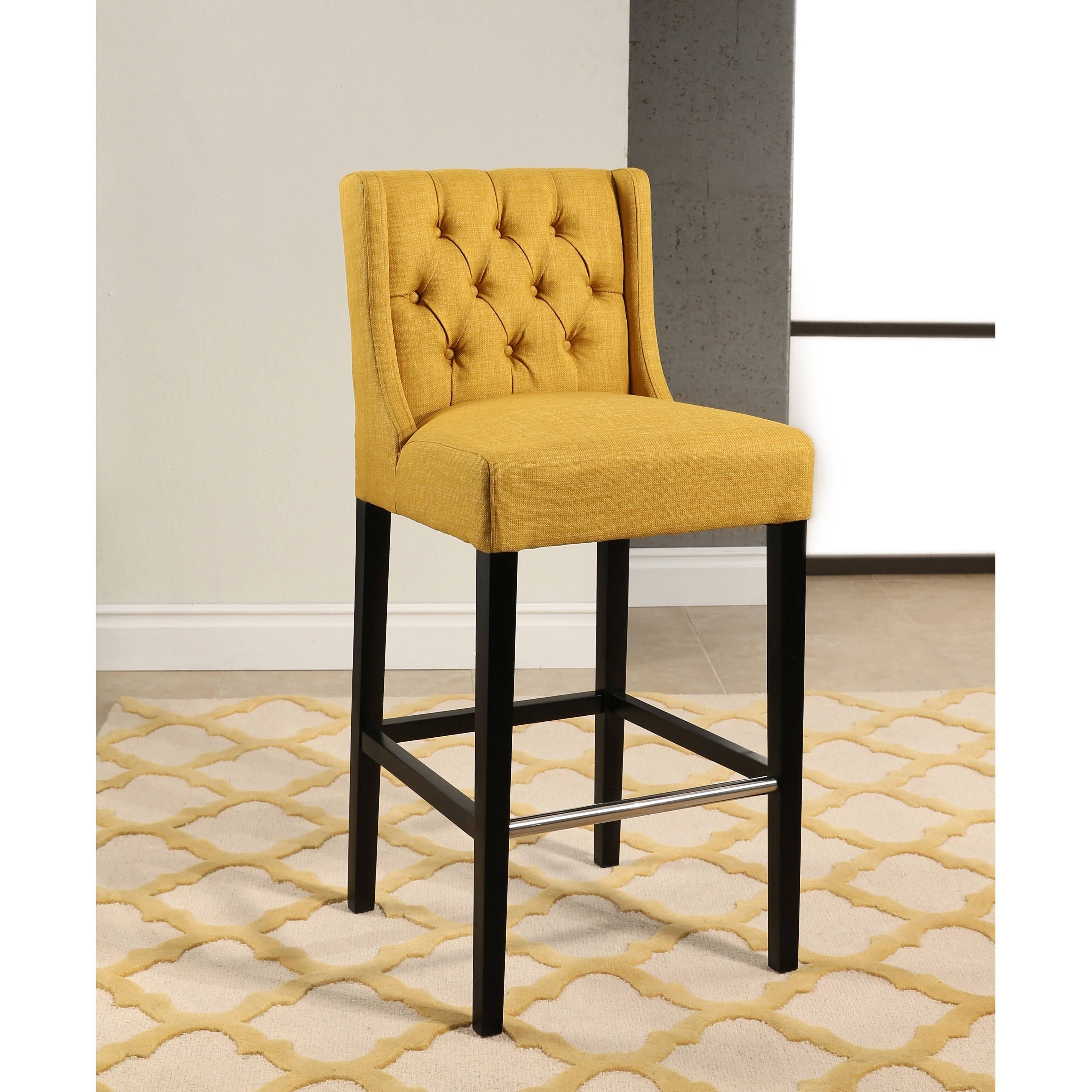 Abbyson Bellville Fabric Upholstered Tufted 30 Inch Bar Stool