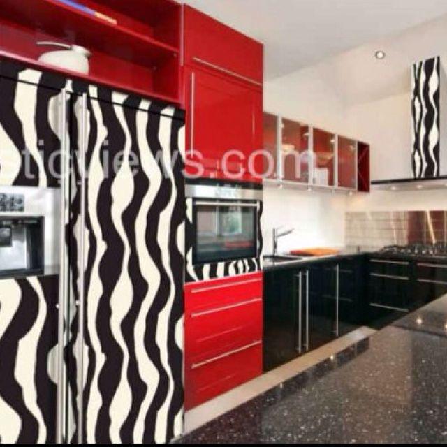 Zebra Kitchen Decor: Zebra Refrigerator And Microwave