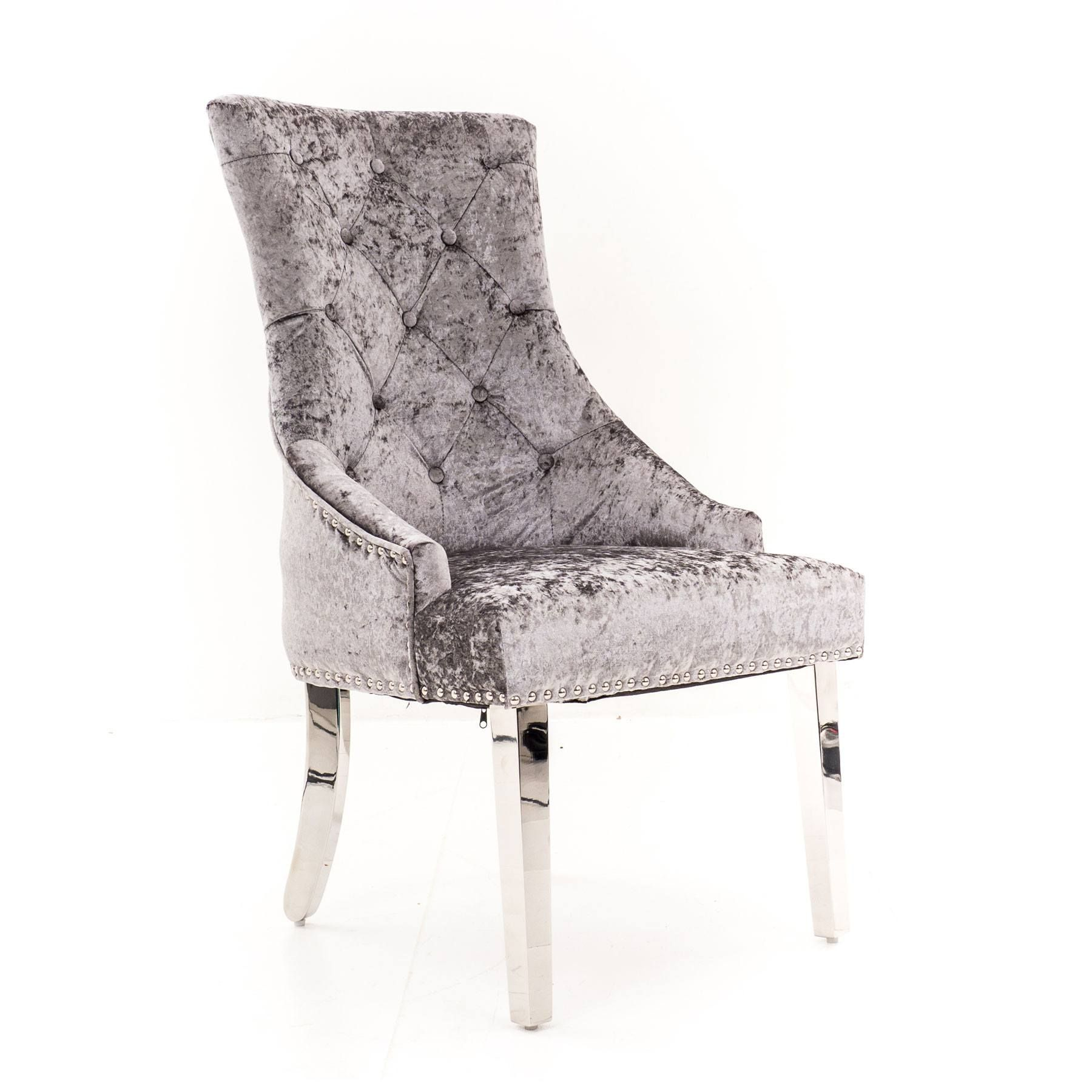 Lyon Silver Velvet Dining Chair With Lion Knocker And Chrome Legs