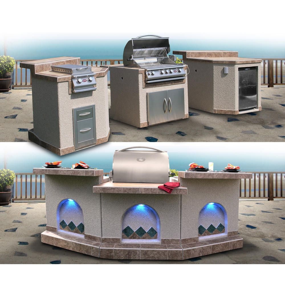 Cal flame 3 piece island with 4 burner natural gas bbq grill and rotisserie