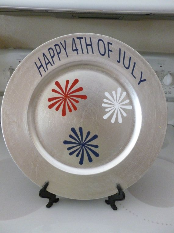 4th of July Decorative Plate Charger by LisasLittleJoys on Etsy $8.00 & 4th of July Decorative Plate Charger | Plate chargers Etsy and Cricut