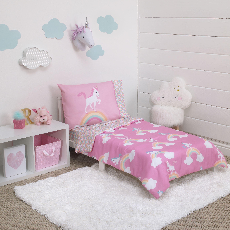 Little Tikes 4 Piece Rainbows Unicorns Pink Toddler Bedding Set Walmart Com Toddler Bed Set Unicorn Toddler Bedding Pink Toddler Bed