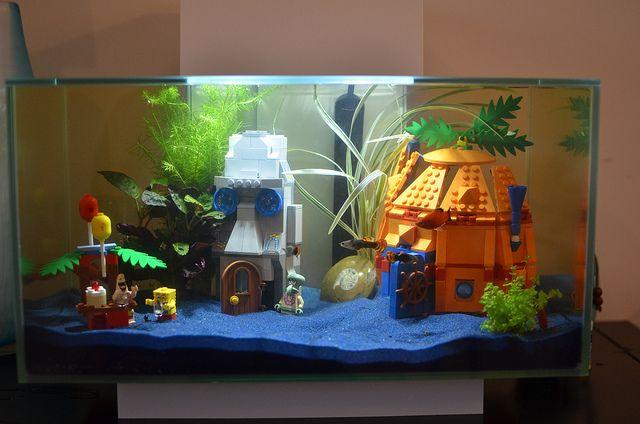 Fluval edge aquarium with spongebob lego spongebob for Spongebob fish tank accessories