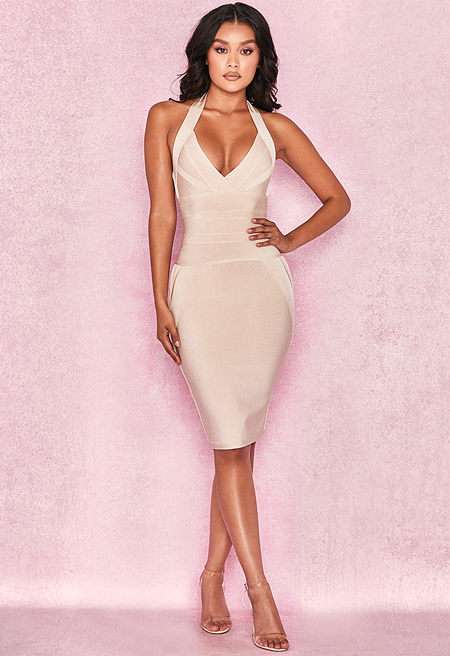 13a5bb9daf1 Sexy Halter Backless Nude Bandage Dress – CHICIDA