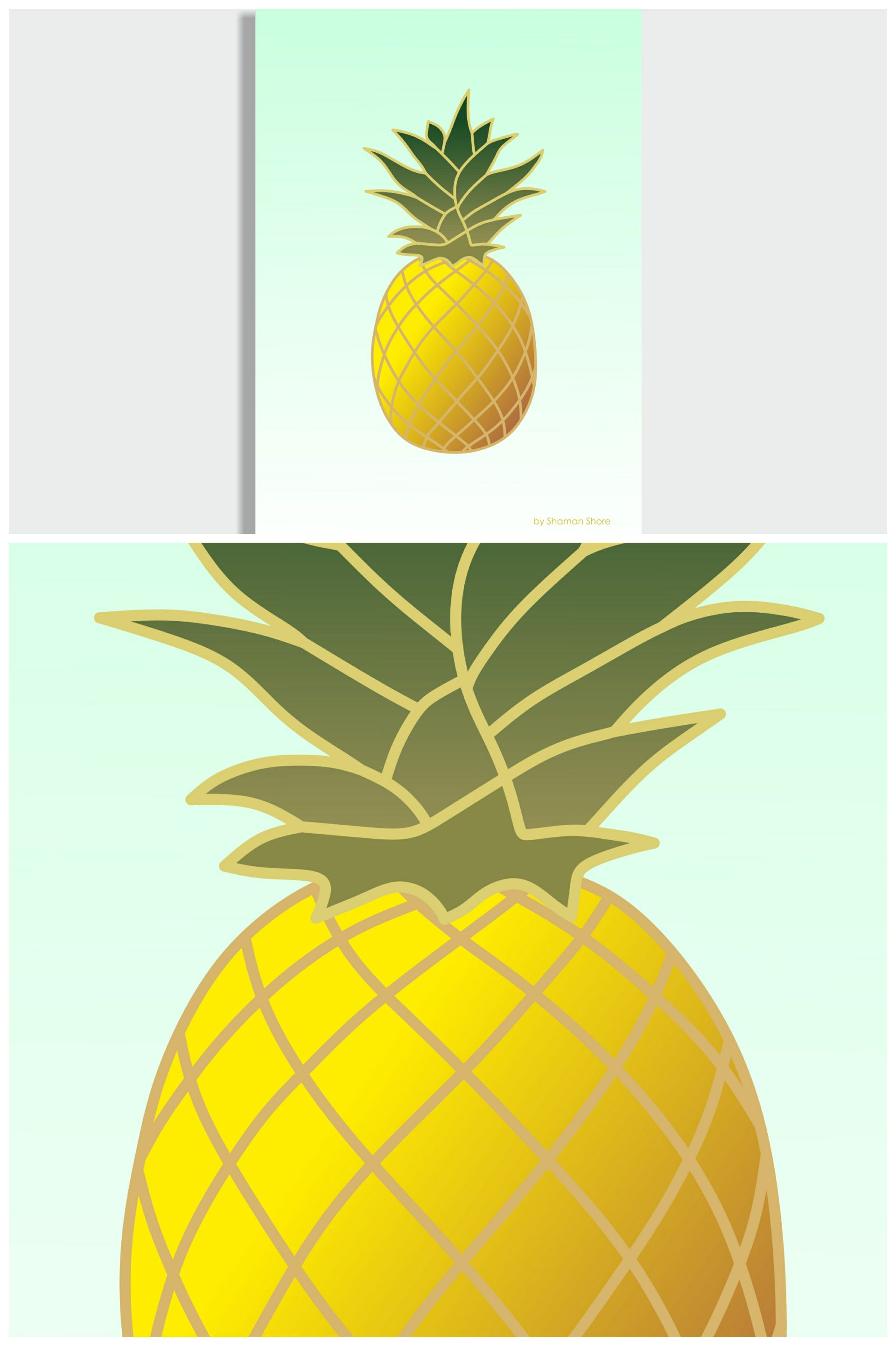 Wall Décor Pineapple Art Print, Tropical Décor Pineapple Fruit Art ...