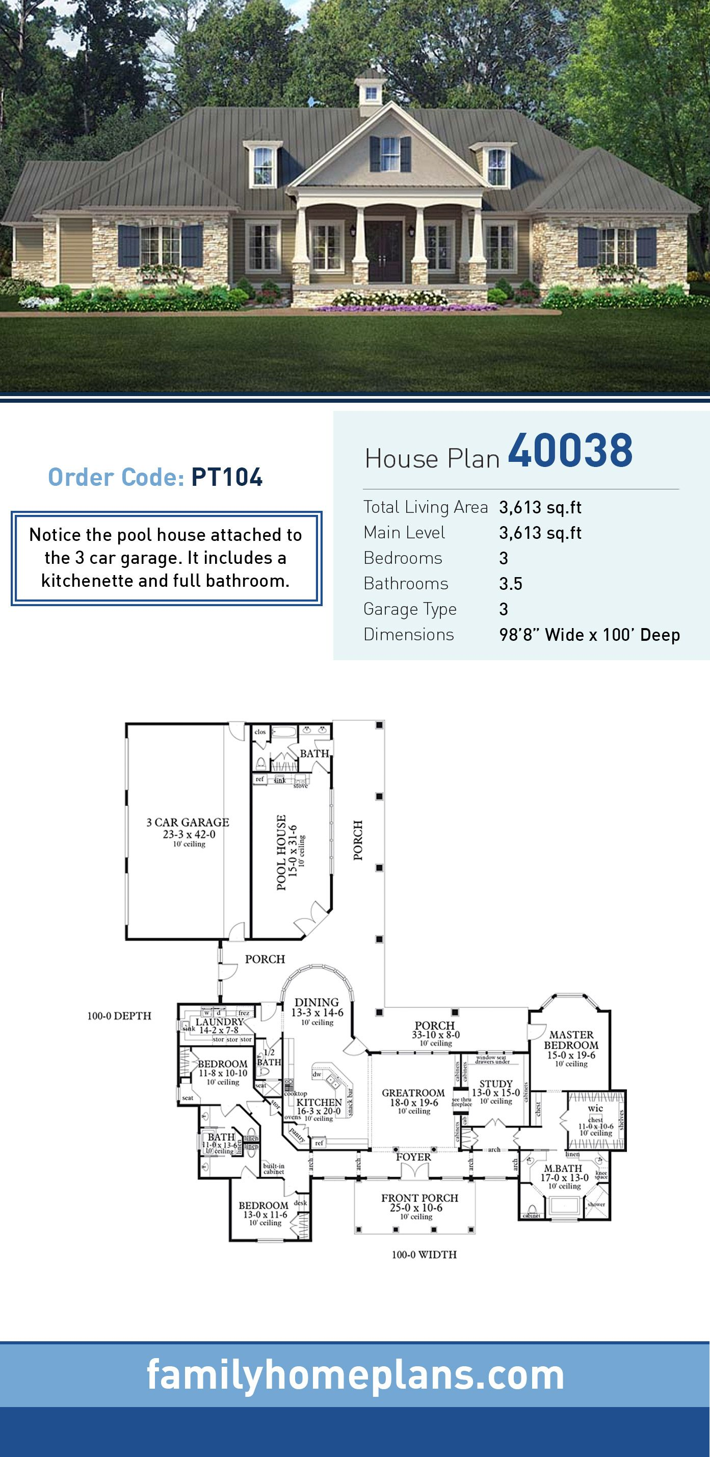 Southern Style House Plan 40038 With 3 Bed 4 Bath 3 Car Garage Ranch House Plans Pool House Plans Barn Homes Floor Plans