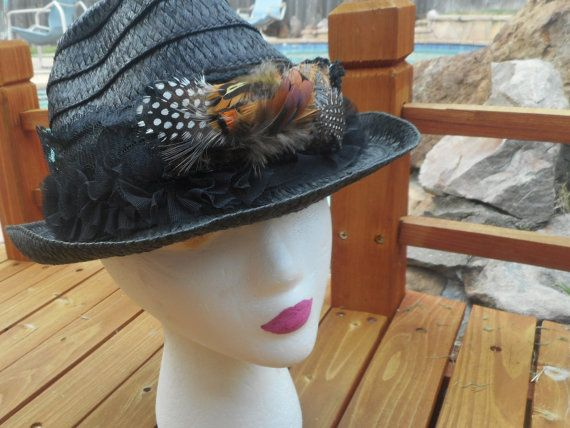 Black Fall Fedora, Updated Jessica Simpson Hat, Feathers And Black Lace