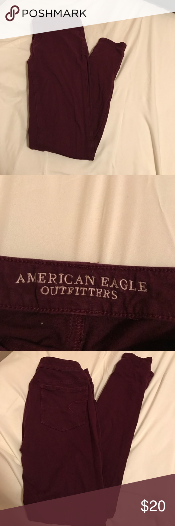 American Eagle Super Stretch Jeggings Worn a few times. In good condition. Super comfortable. Size 4/regular. Maroon. American Eagle Outfitters Jeans Skinny