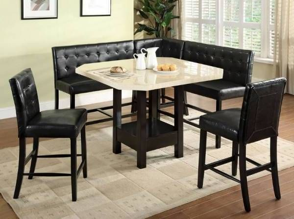 Counter Height Dining Table Set Booth Style Seats