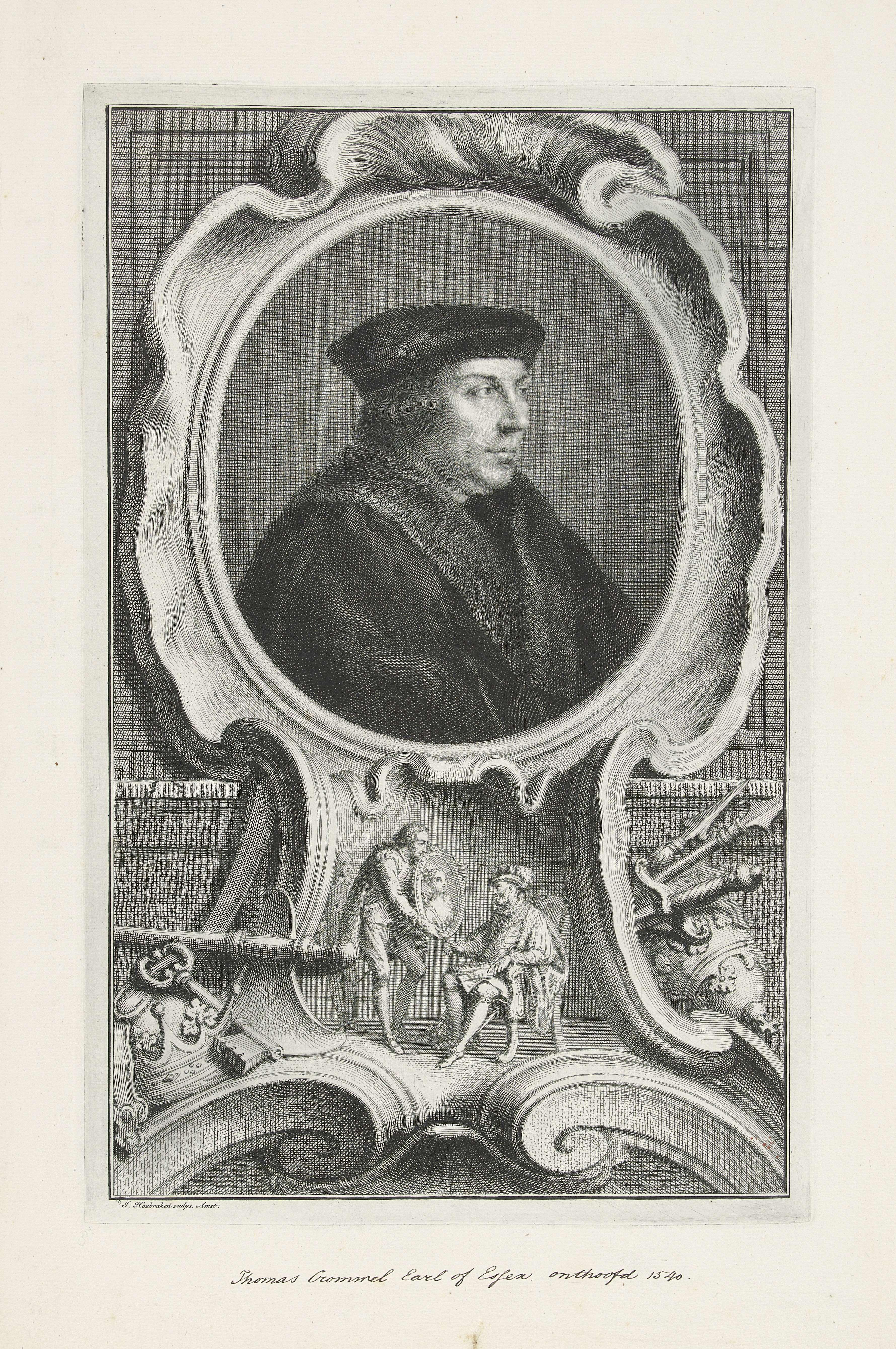 Jacob Houbraken | Portret van Thomas Cromwell, Jacob Houbraken, Hans Holbein, 1737 - 1739 | Portret van Thomas Cromwell. Onder het portret een afbeelding waarin Thomas Cromwell aan Henrik VIII het portret toont van Anna van Kleef.