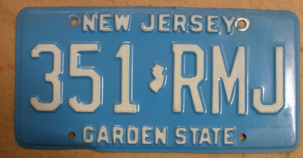 1979 New Jersey  License Plate  - 351RMJ