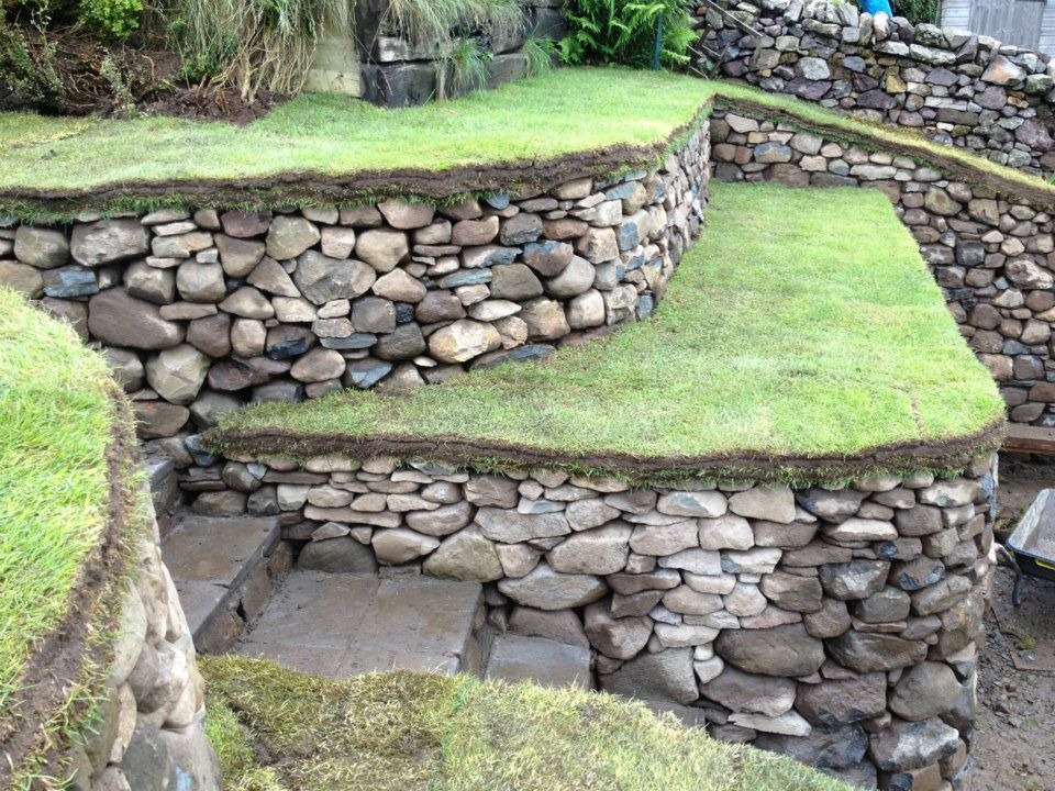 Dry Stone Retaining Walls Steps And Bench At Carlops Scotland Uk