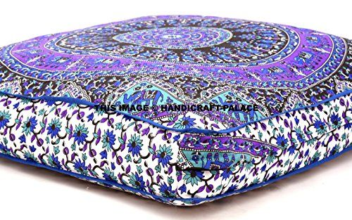 Indian Psychedelic Elephant Mandala Floor Pillow Square Ottoman