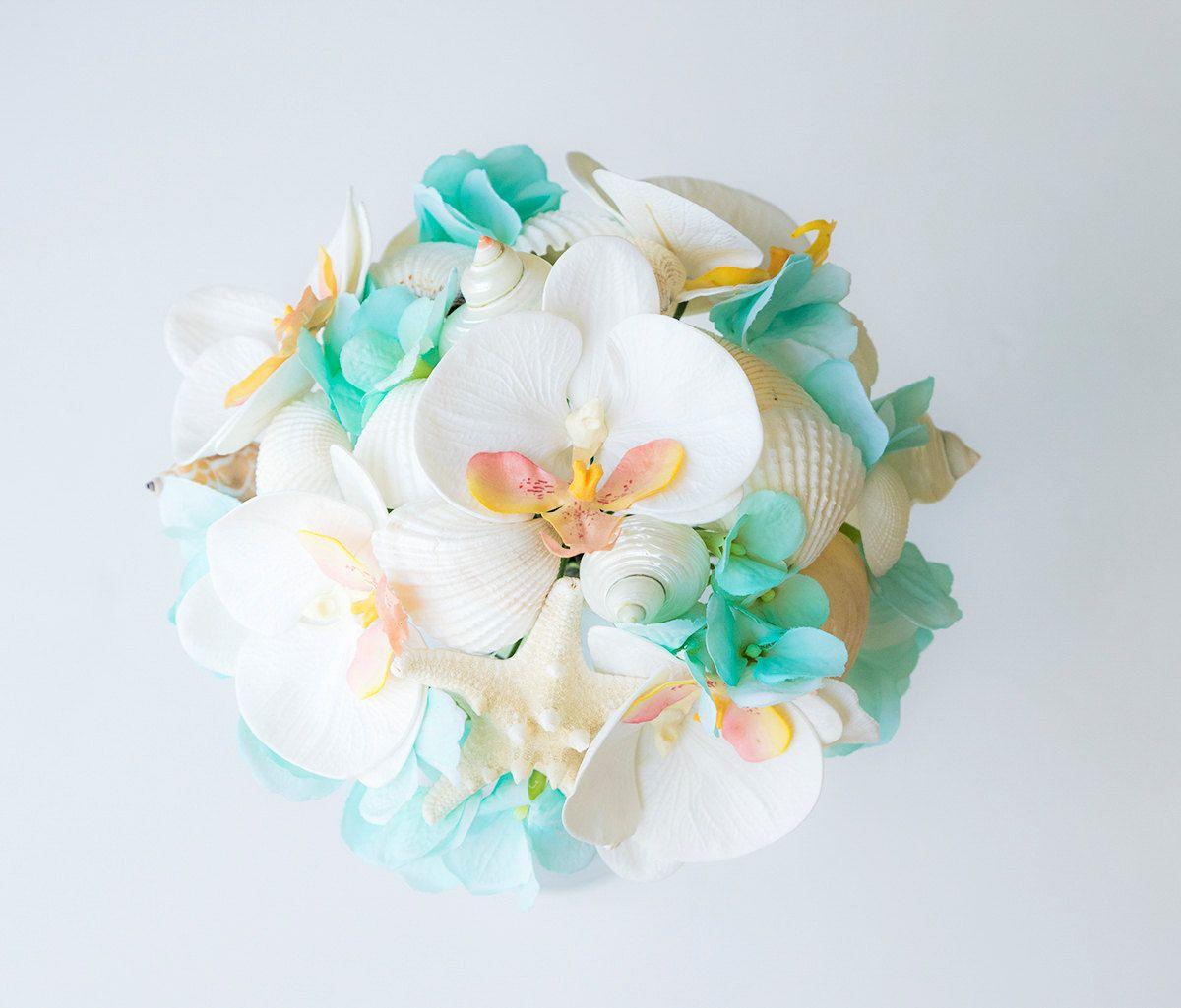 Teal beach wedding  Beach Wedding Turquoise Teal Seashells and Starfish by Wedideas