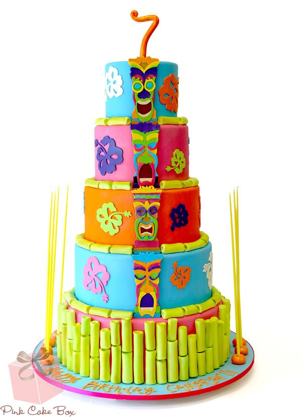 Click to enlarge Luau and Tiki Birthday Cake