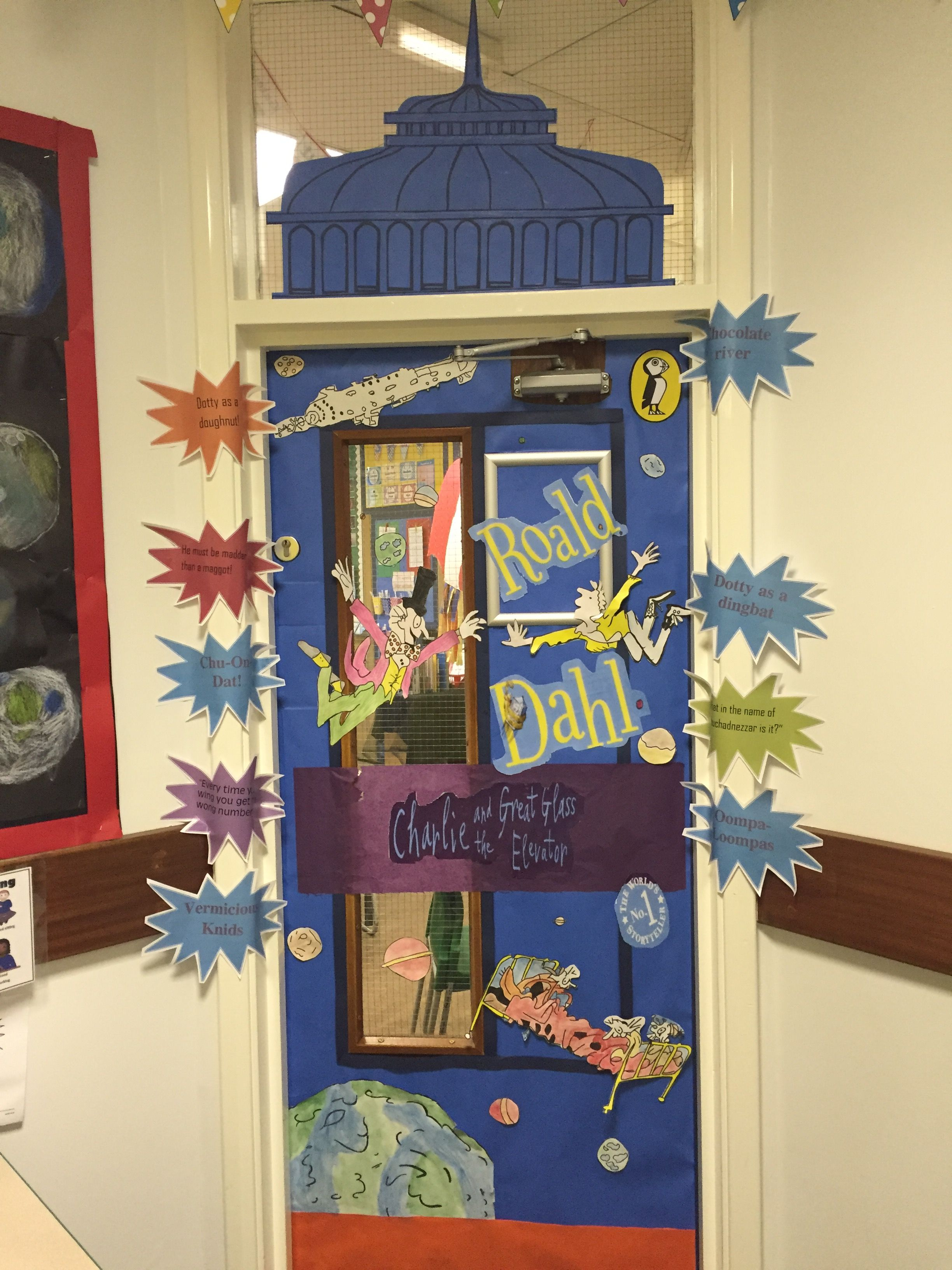 Charlie and the great glass elevator - Roald Dahl # door cover# Charlie and  the chocolate factory # floating in space # willy wonker # world book day  ...