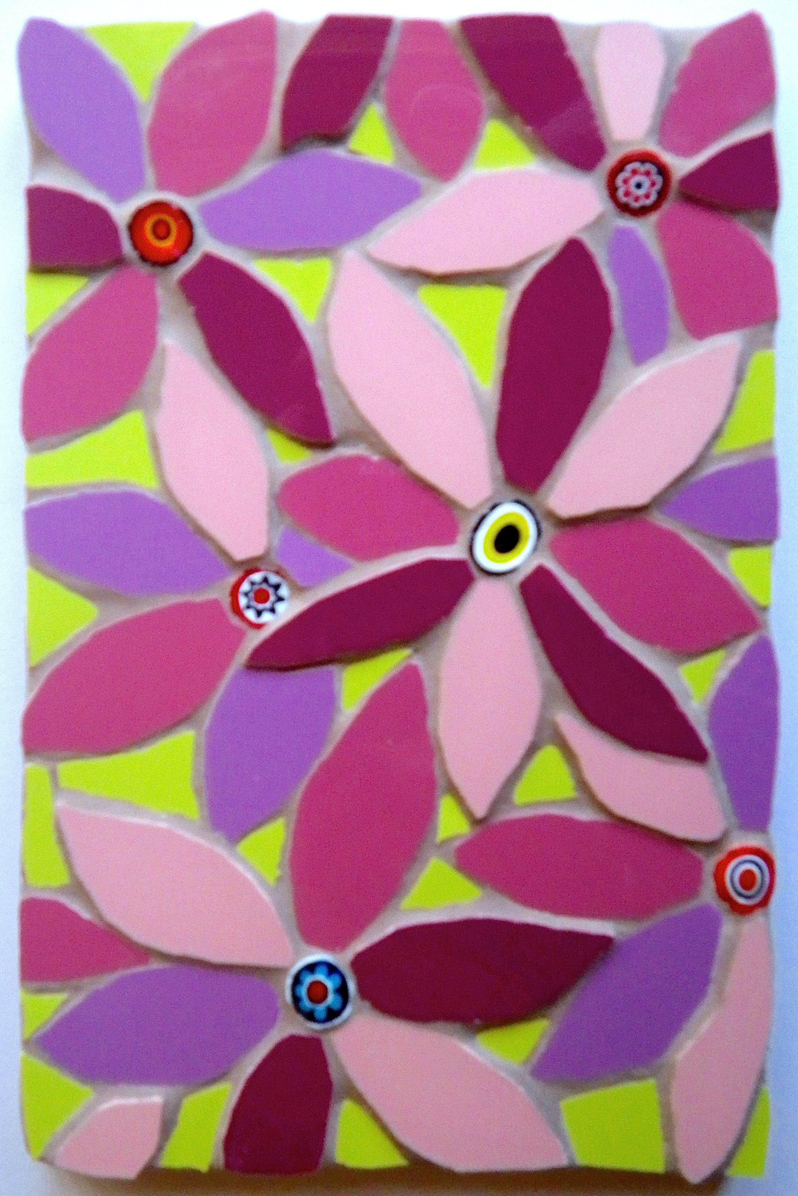 A flower mosaic using millefiori Mosaic flowers, Mosaic