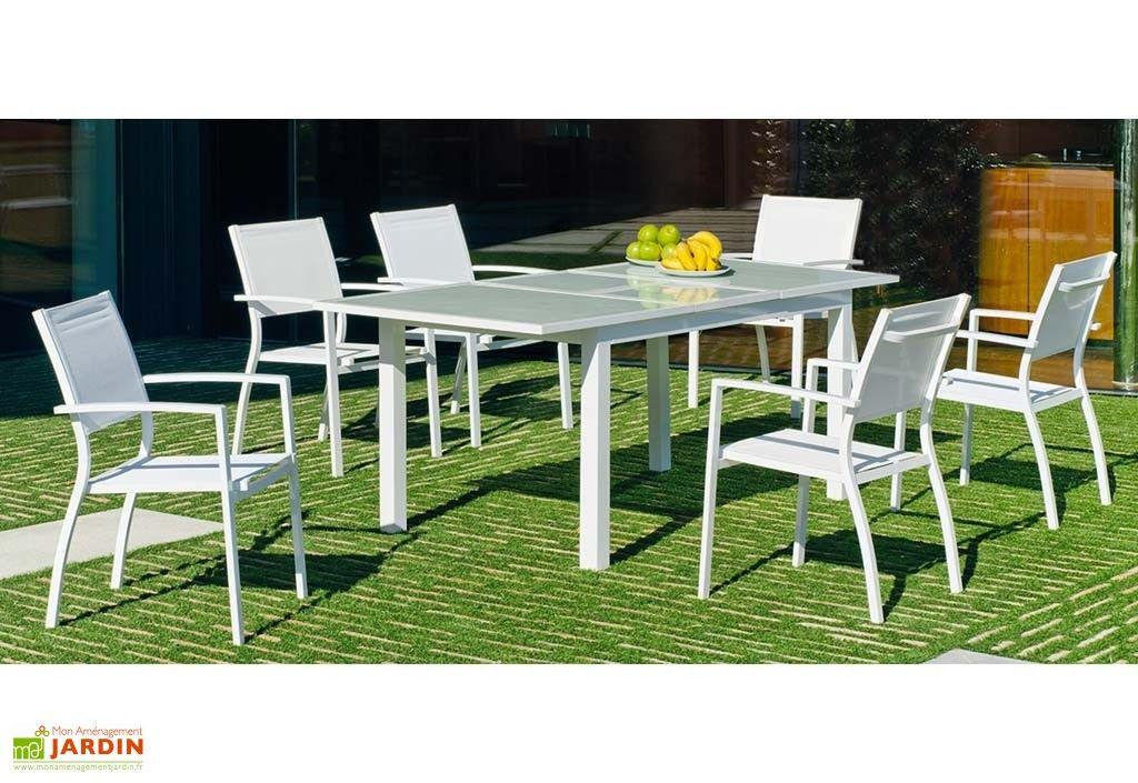 salon de jardin avec grande table à manger extensible aluminium ...