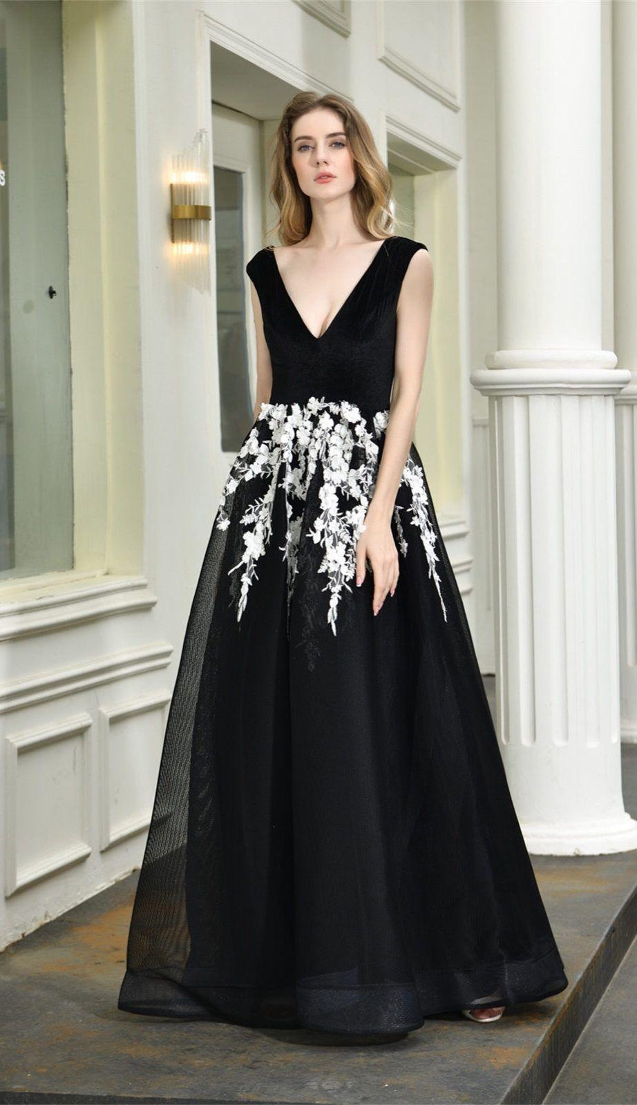 Pin auf Abendkleid Schwarz Weiß