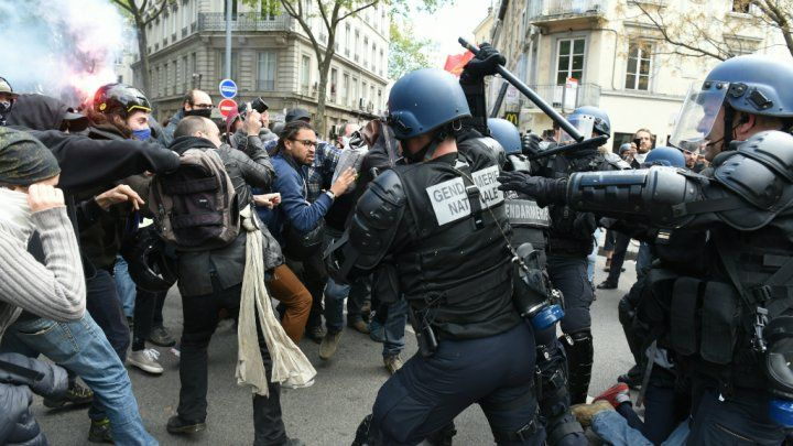 French labour protests // protests across France against a hotly contested labour reform bill.