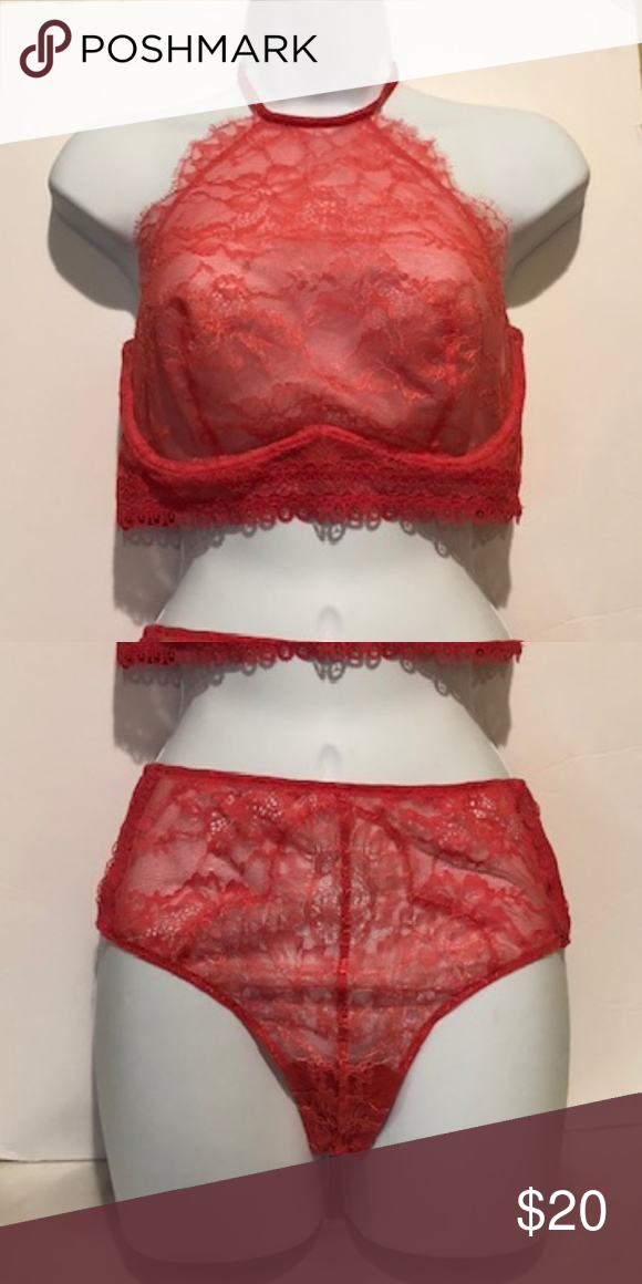 1562facbf7211 Bralette and Pantie Set Coral Bralette Size 36D and Very Sexy Mid-Rise Thong  Size Medium Victoria s Secret Intimates   Sleepwear