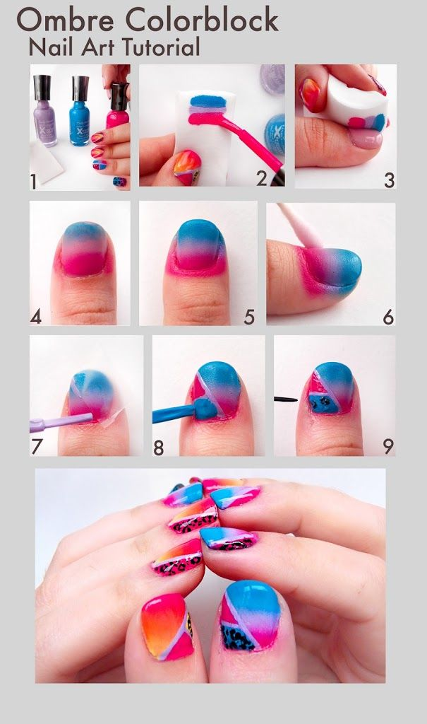 Beauty Tip On Ombre Nail Art Tutorial Color Blocking By Sophia Gill Check Out More Nails Bellashoot