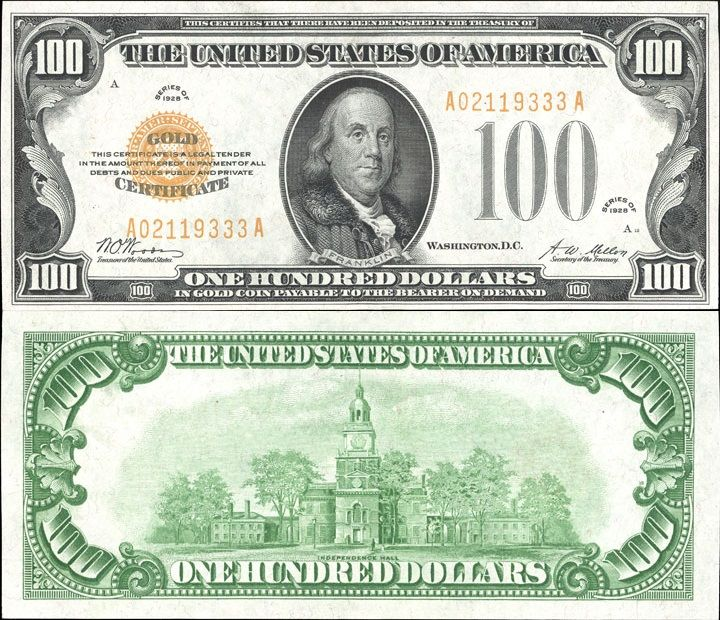 Us 100 Dollar Note Series Of 1928 Serial A02119333a Signatures Woods Mellon Independence Hall Money Collection Money Worksheets Money Notes