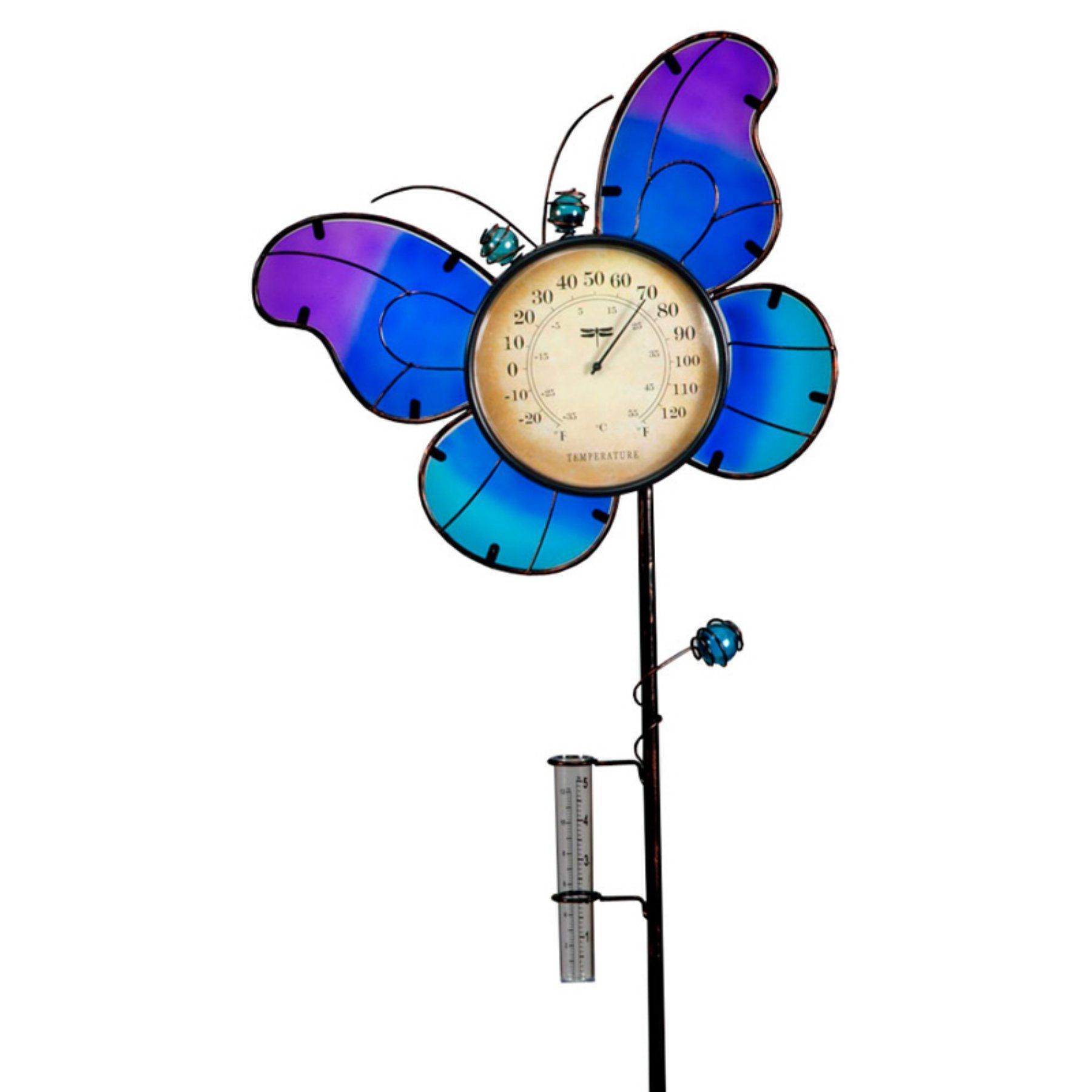 Transcontinental outdoor butterfly temperature and rain gauge garden