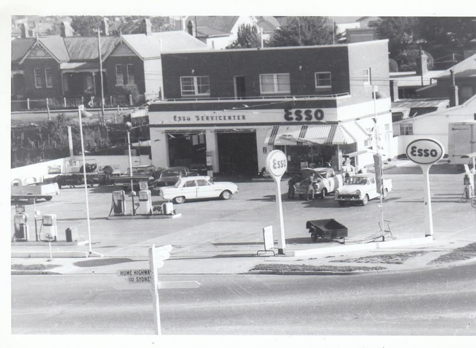 ESSO Petrol Station c1960.  Cnr of Clinton and Cowper (now Southern Plumbing).