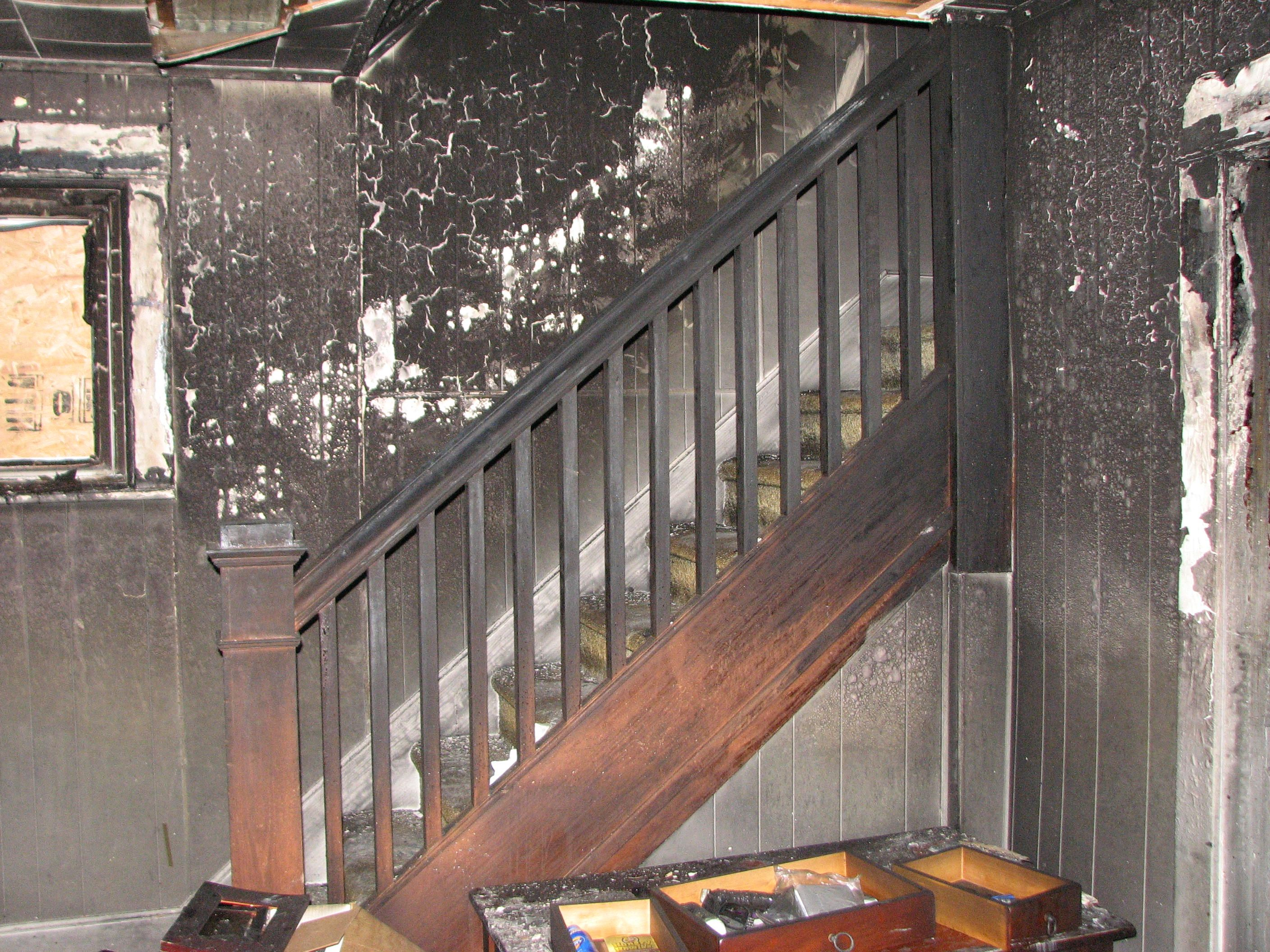 Fire damaged stairs fire damage we can help you out with