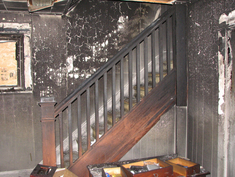 Fire Damaged Stairs Fire Damage Smoke Damage Stairs
